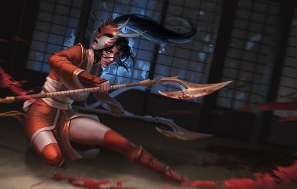 Картинка маска, секиры, поединок, Akali, League of Legends, Лига Легенд, брызги крови, лужа крови, женщина-воин