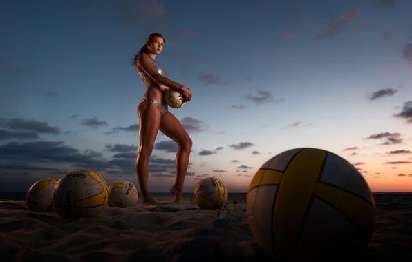 Картинка balls, sunset, sand, Beach volleyball