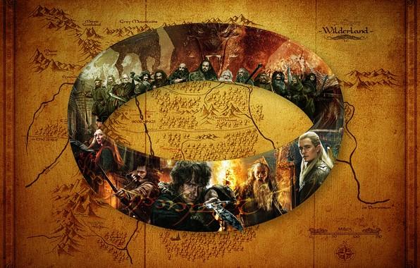 Картинка Карта, The Hobbit, Бильбо Бэггинс, Леголас, Тауриэль, Кольцо Всевластия, Гномы Эрибора