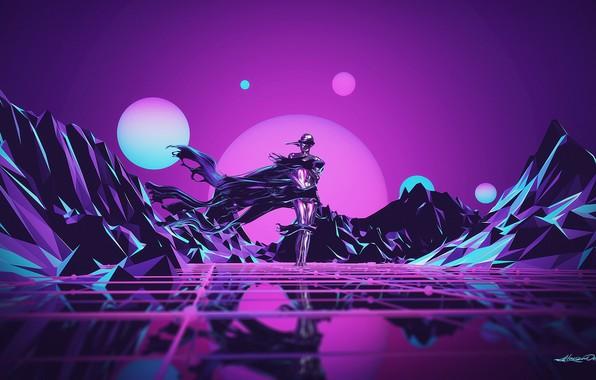 Картинка Музыка, Робот, Неон, Человек, Холмы, Фон, Synthpop, Darkwave, Synth, Low Poly, Retrowave, Синти-поп, Синти, Synthwave, ...
