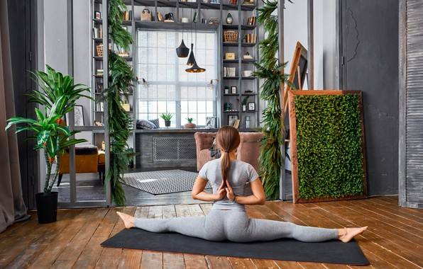 Картинка девушка, поза, комната, гибкость, растения, фигура, стройная, футболка, прическа, йога, коврик, спортивная, шатенка, сидит, шпагат, …