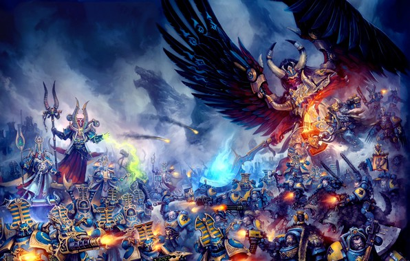 Картинка demon, Space Wolves, chaos, space marines, Warhammer 40 000, Magnus the Red, primarch, Thousand Sons