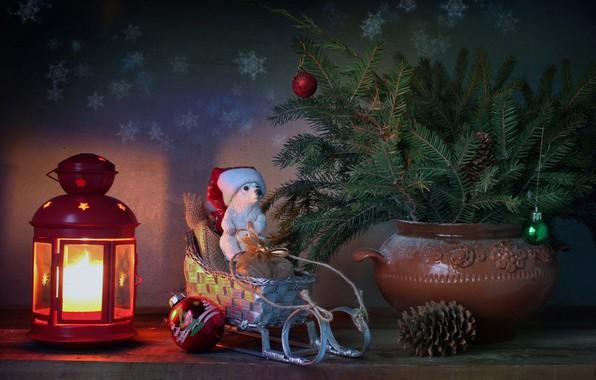Фото обои зима, елка, новый год, рождество, свеча, мишка, фонарик, подарки, натюрморт, санки, январь