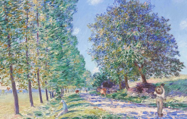 Картинка пейзаж, картина, Alfred Sisley, Альфред Сислей, Ряд Тополей на Берегах Луэна