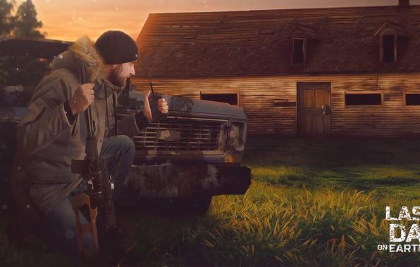 Картинка Дом, Оружие, House, Gun, Man, Forest, Apocalypse, Bomb, Survival, Выживание, Last Day on Earth, Взывчатка