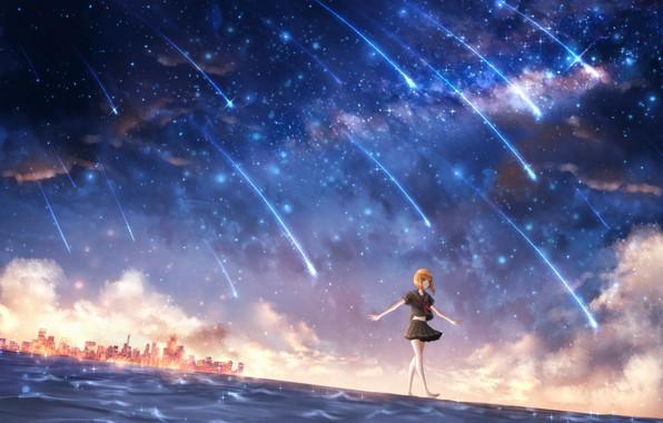 Картинка вода, девушка, космос, город, школьница, CZY