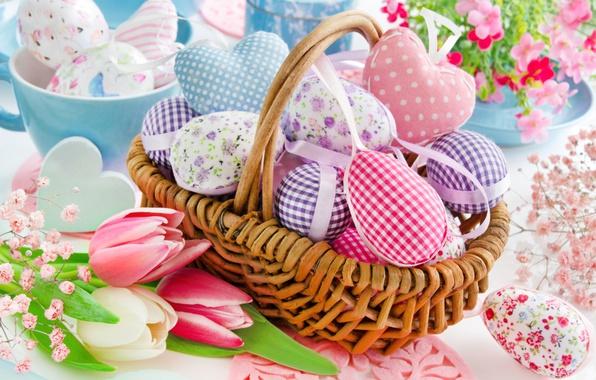 Картинка цветы, корзина, весна, Пасха, сердечки, тюльпаны, happy, heart, flowers, tulips, spring, Easter, eggs, delicate, decoration, …