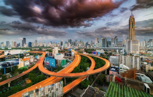 Картинка крыша, облака, город, дороги, дома, вечер, Тайланд, Bangkok