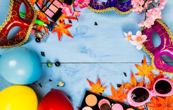 Картинка листья, цветы, стиль, макияж, тени, Маска, карнавал