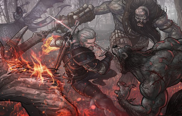 Картинка меч, Геральт, Patrick Brown, CD Projekt RED, PatrickBrown, The Witcher 3: Wild Hunt, The Witcher …