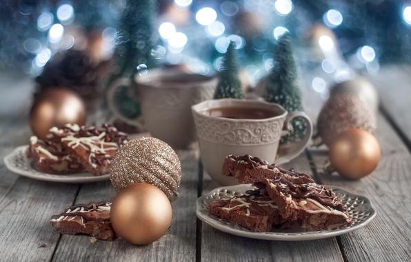 Фото обои декор, игрушки, чай, праздник, торт, стиль