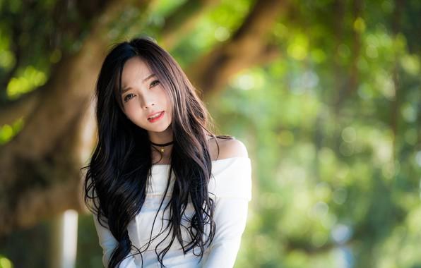 Картинка взгляд, девушка, волосы, азиатка, боке