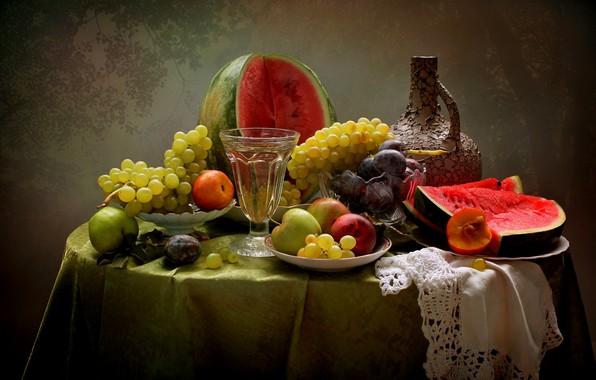 Картинка лето, вино, яблоки, арбуз, виноград, фрукты, натюрморт, сливы, нектарины