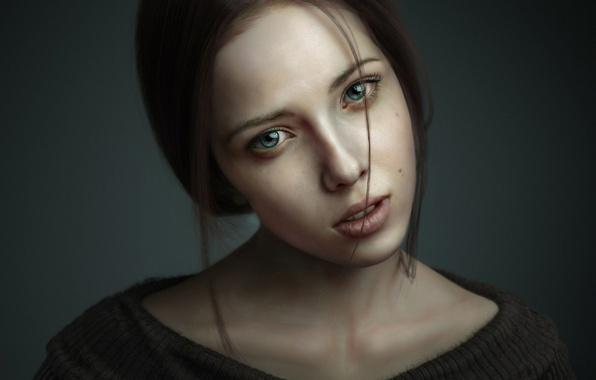 Картинка взгляд, девушка, портрет, 3ds max, рендер, photoshop, zbrush, Portrait of Woman 3D Art by Pasquale …