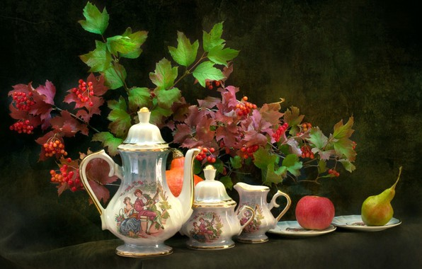 Картинка яблоко, груша, чайный сервиз, боярышник