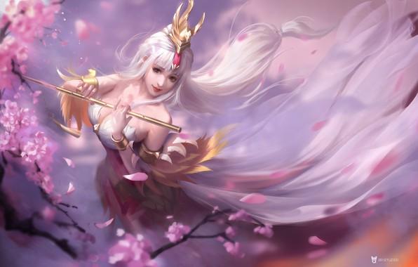 Картинка игра, весна, сакура, фэнтези, арт, бард, 3Q STUDIO, 王者荣耀 王昭君 同人