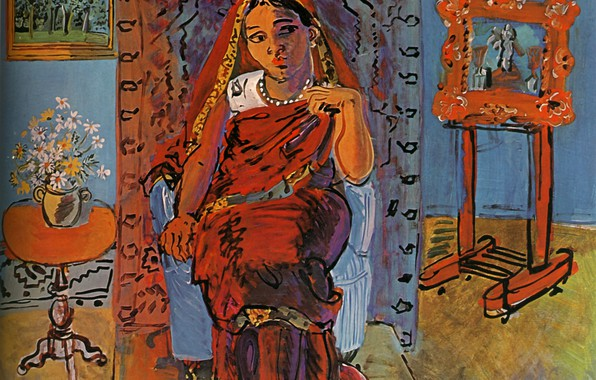Картинка 1930, Huile sur Toile, Raoul Dufy, IntВrieur avec Hindoue, Interior with Hindu woman, Statens Museum …