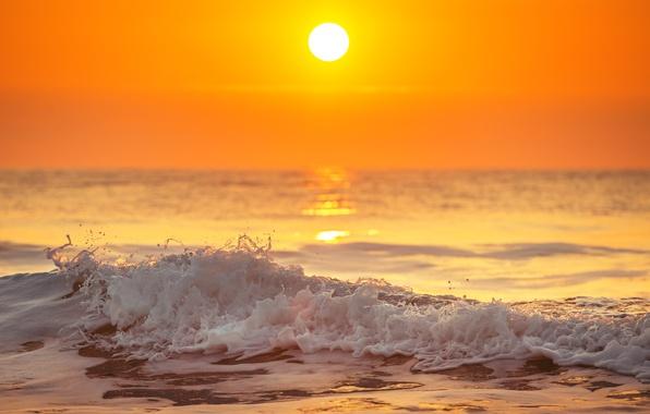 Картинка море, волны, пляж, закат, берег, beach, sea, ocean, sunset, seascape, sand, wave