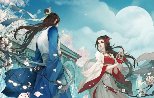 Картинка любовь, цветы, ситуация, весна, вечер, сакура, арт, пара, fantasy, свидание