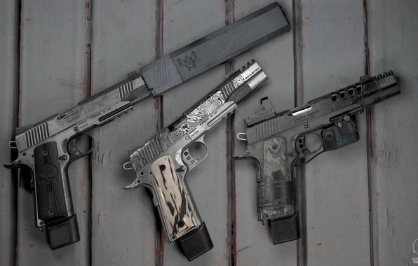 Картинка пистолет, оружие, gun, weapon, гравировка, кастом, глушитель, custom, M1911, М1911, лазерный прицел, engraving, Kimber, silencer, ...