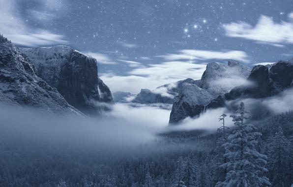 Картинка зима, лес, горы, Калифорния, California, Yosemite Valley, Yosemite National Park, Сьерра-Невада, звёздное небо, Sierra Nevada, ...