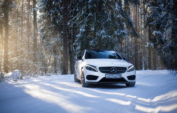 Картинка зима, car, машина, авто, city, туман, гонка, сказка, тачка, red, mercedes, спорт кар, автомобиль, need ...