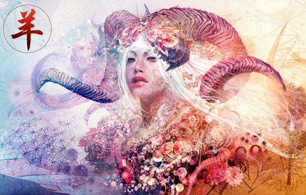 Картинка colors, colorful, abstract, girl, horns, texture, eyes, face, rendering, asian, digital art, artwork, Aries, Psychedelic, …