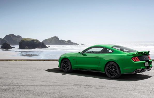 Картинка побережье, Ford, вид сзади, Fastback, 2018, Mustang GT