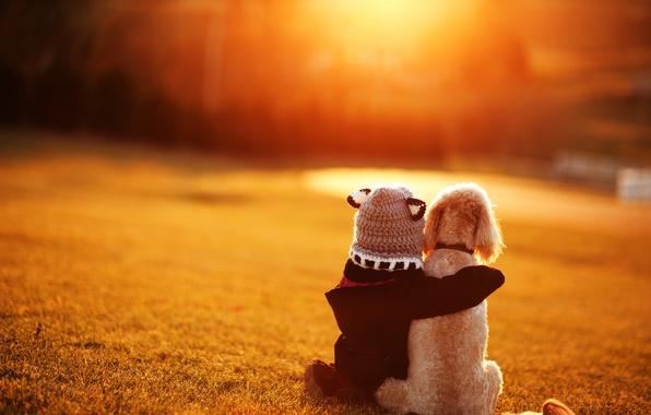 Картинка собака, дружба, девочка, друзья, ребёнок, боке