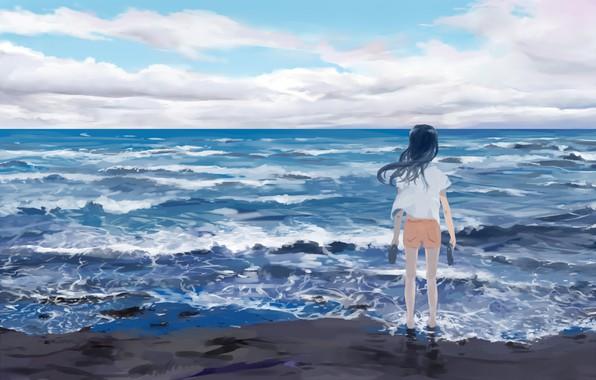 Картинка море, небо, девочка, Atsushi2988