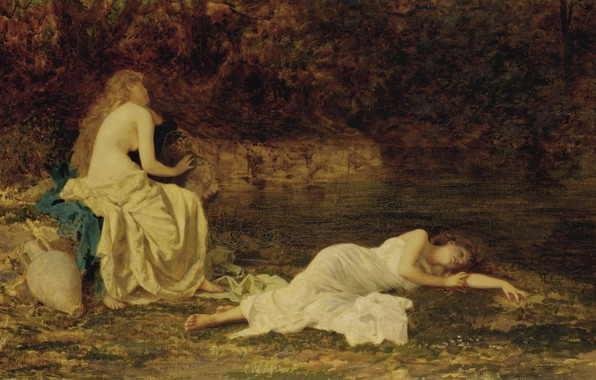 Картинка кувшин, две девушки, Dreaming, Sophie Gengembre Anderson