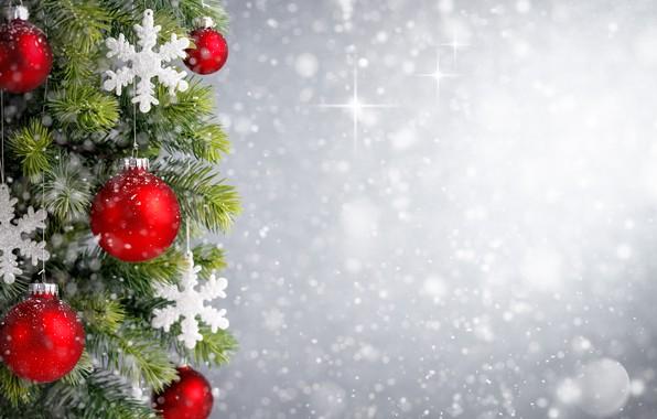 Картинка украшения, снежинки, шары, елка, Новый Год, Рождество, happy, Christmas, bokeh, New Year, Merry Christmas, Xmas, …