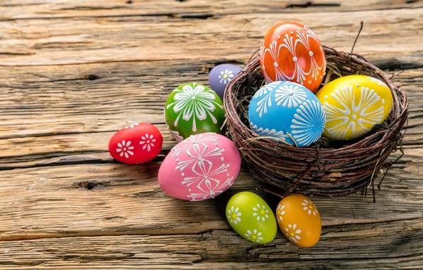 Картинка colorful, Пасха, happy, корзинка, wood, spring, Easter, eggs, holiday, яйца крашеные