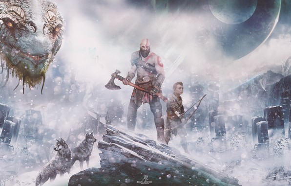 Картинка Wars, Action, Red, Fantasy, Wolves, Dragon, Blizzard, Sony, Gods, Winter, Kratos, Playstation, God of War, ...