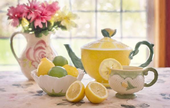 Картинка цветы, лимон, чай, букет, чайник, чашка, лайм, цитрус