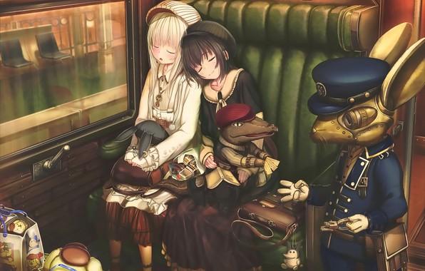 Картинка девочки, робот, аниме, арт, спят