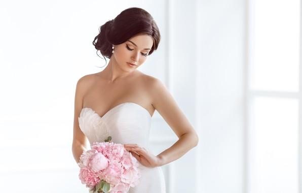 Картинка девушка, букет, макияж, платье, прическа, невеста, в белом