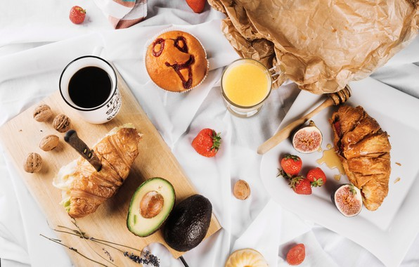 Картинка ягоды, кофе, еда, завтрак, сок, фрукты, круассаны, апельсиновый, инжир