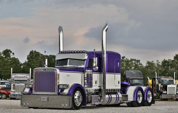 Фото обои Truck, Hrome, Peterbilt, Custom, Purple