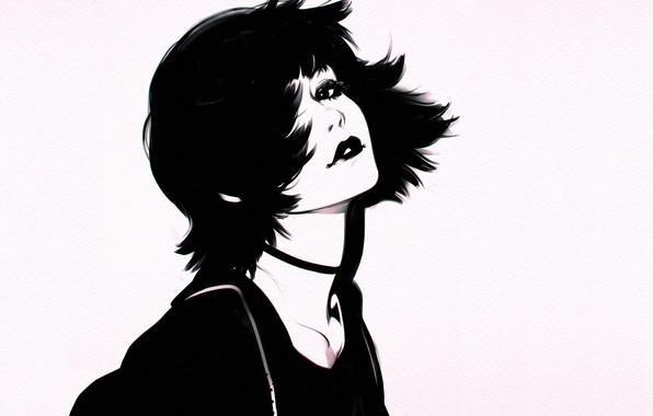Картинка стрижка, черно-белая, губы, серый фон, шея, челка, портрет девушки, Илья Кувшинов