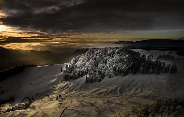 Картинка зима, свет, горы, ночь, природа