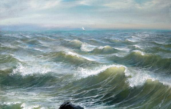Картинка волны, облака, пейзаж, камни, Море, Айбек Бегалин, 2011г, парус в далеке