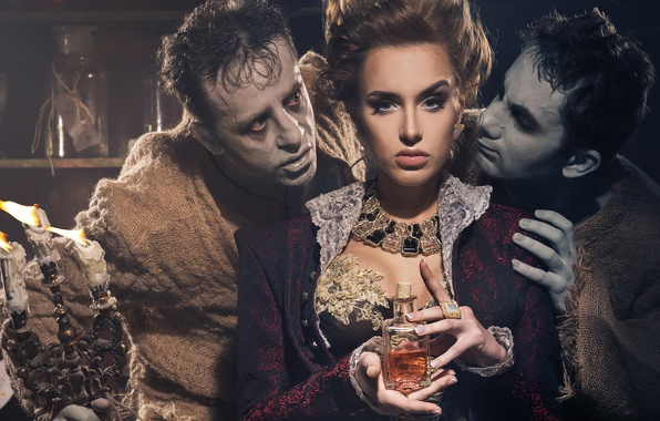 Картинка dress, woman, men, look, candles, flask, Victorian style