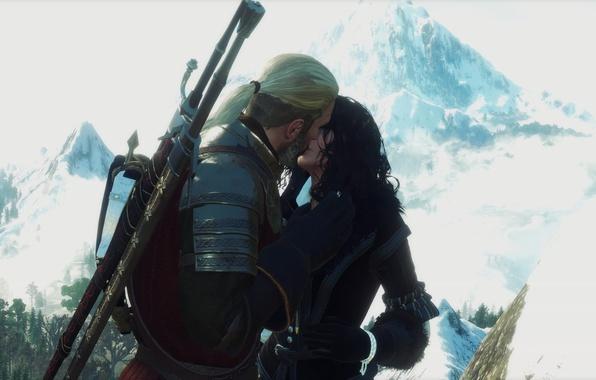Картинка поцелуй, Ведьмак, The Witcher 3, Geralt, Yennefer, My Beautiful Love