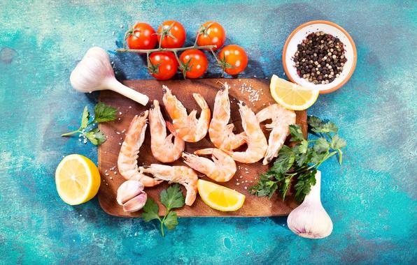 Картинка лимон, еда, помидоры, петрушка, креветки, специи, чеснок