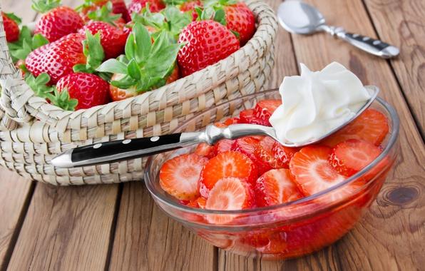 Картинка ягоды, корзина, сливки, клубника, fresh, strawberry, cream, berries