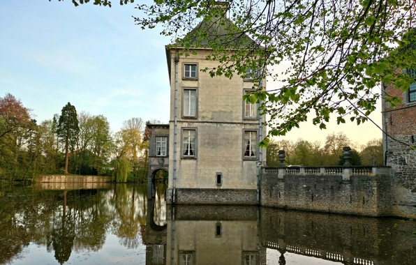 Картинка House, Beautiful, landscape, style, old, Belgium, Castle, architecture, Lake, Pond, Medieval, French, Construction, Architectural, Nivelles, …
