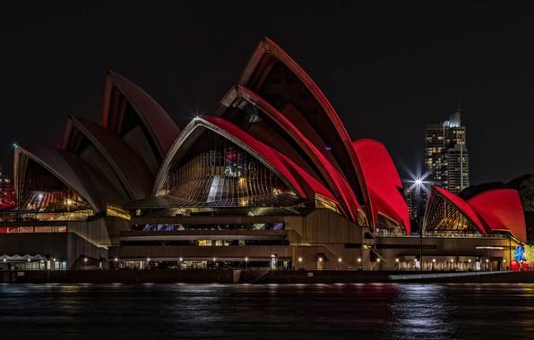 Картинка море, вода, свет, ночь, красный, город, огни, темнота, люди, здание, здания, дома, небоскребы, освещение, Австралия, …