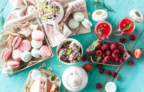 Картинка ягоды, малина, шоколад, ромашки, печенье, мороженое, пирожное, десерт, джем, сладкое, macaron