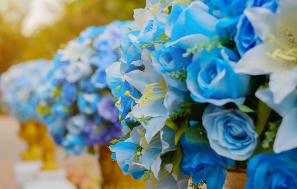 Картинка цветы, лилии, букет, Розы